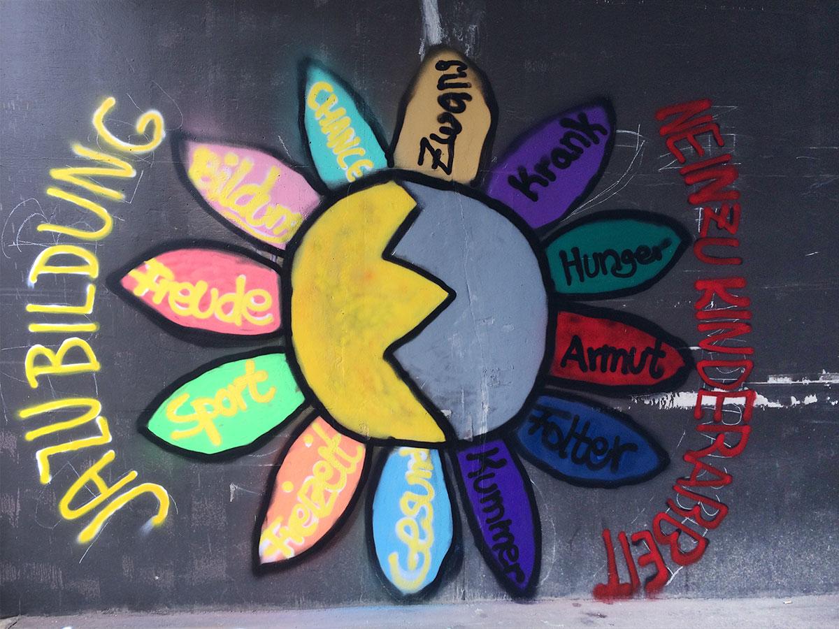 Campus Berlin - Graffiti - Welttag gegen Kinderarbeit