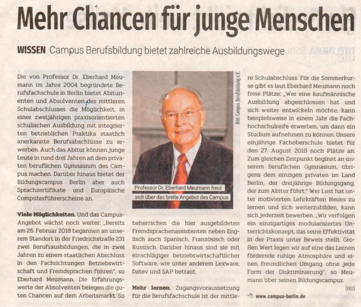 Campus Berlin im Berliner Abendblatt